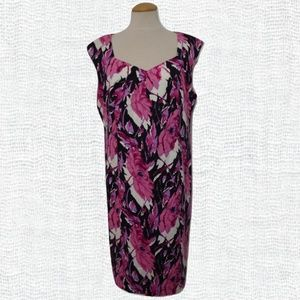 Talbots Pink/Black Stretch Cotton Dress- Size 18